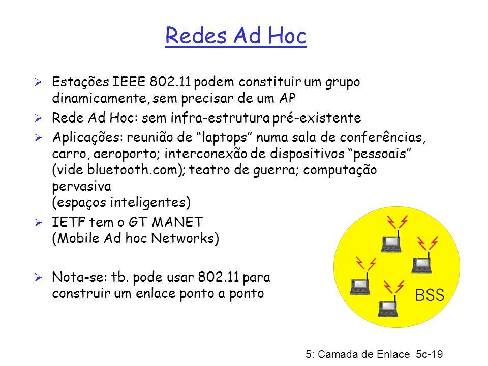 5: Camada de Enlace 5c-19 Redes Ad Hoc Estações IEEE 802.11 podem constituir um grupo dinamicamente, sem precisar de um AP Rede Ad Hoc: sem infra-estr