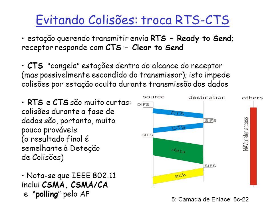 5: Camada de Enlace 5c-22 Evitando Colisões: troca RTS-CTS estação querendo transmitir envia RTS - Ready to Send; receptor responde com CTS - Clear to