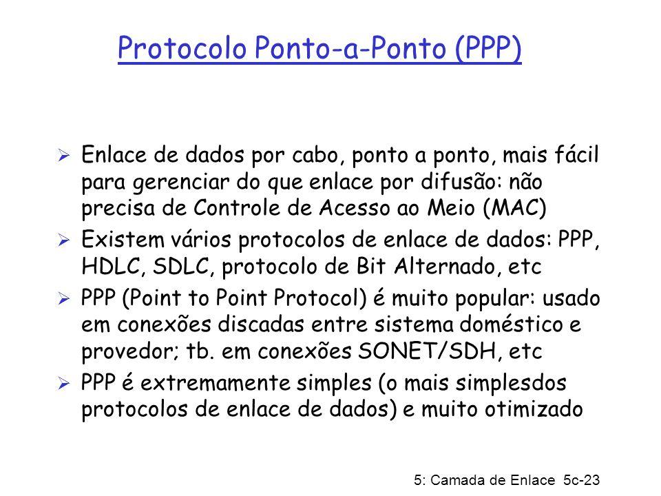 5: Camada de Enlace 5c-23 Protocolo Ponto-a-Ponto (PPP) Enlace de dados por cabo, ponto a ponto, mais fácil para gerenciar do que enlace por difusão: