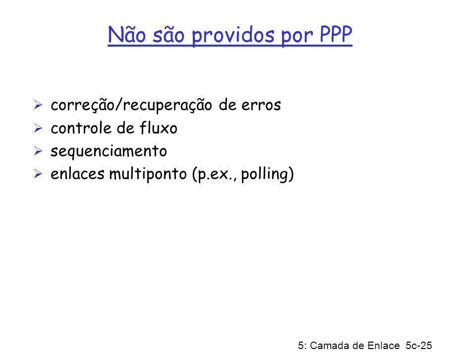 5: Camada de Enlace 5c-25 Não são providos por PPP correção/recuperação de erros controle de fluxo sequenciamento enlaces multiponto (p.ex., polling)