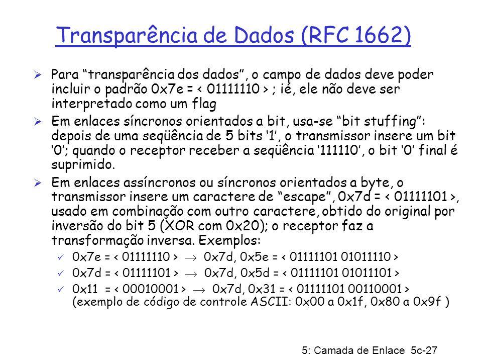 5: Camada de Enlace 5c-27 Transparência de Dados (RFC 1662) Para transparência dos dados, o campo de dados deve poder incluir o padrão 0x7e = ; ié, el