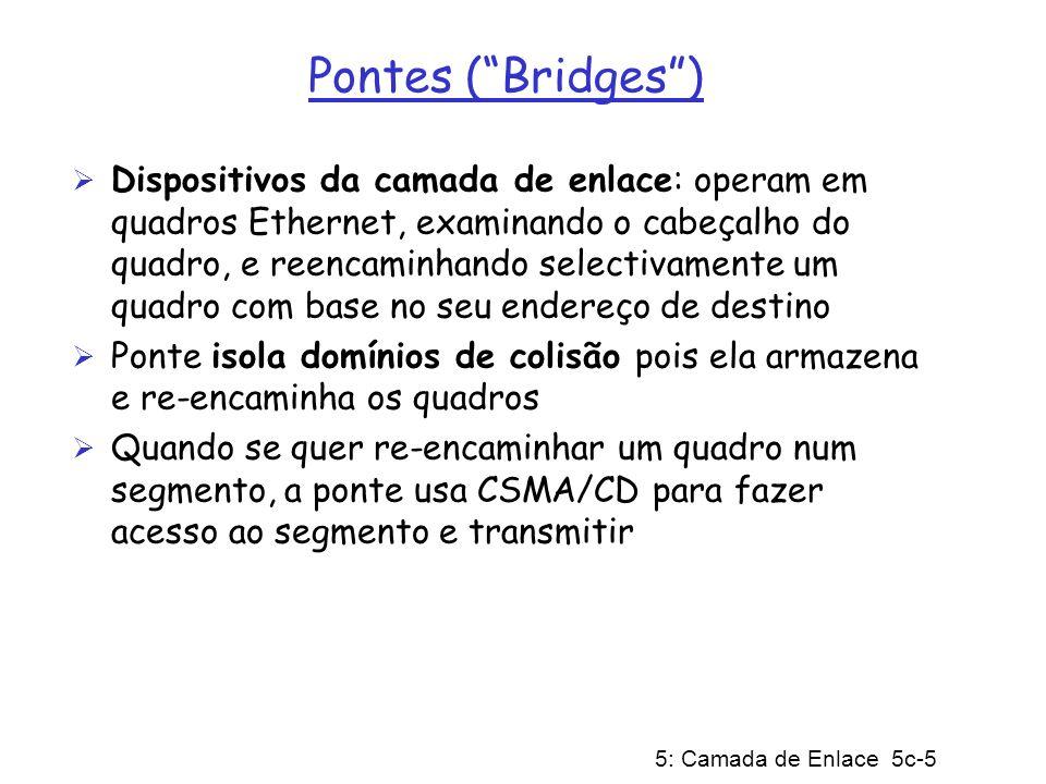 5: Camada de Enlace 5c-5 Pontes (Bridges) Dispositivos da camada de enlace: operam em quadros Ethernet, examinando o cabeçalho do quadro, e reencaminh