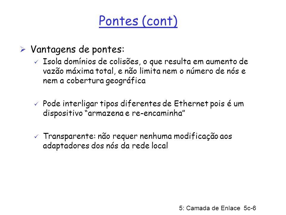 5: Camada de Enlace 5c-6 Pontes (cont) Vantagens de pontes: Isola domínios de colisões, o que resulta em aumento de vazão máxima total, e não limita n