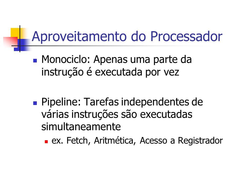 Aproveitamento do Processador Monociclo: Apenas uma parte da instrução é executada por vez Pipeline: Tarefas independentes de várias instruções são ex