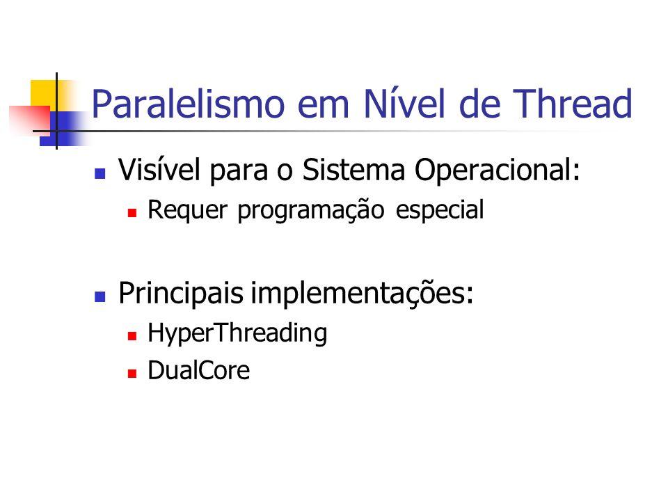 Paralelismo em Nível de Thread Visível para o Sistema Operacional: Requer programação especial Principais implementações: HyperThreading DualCore