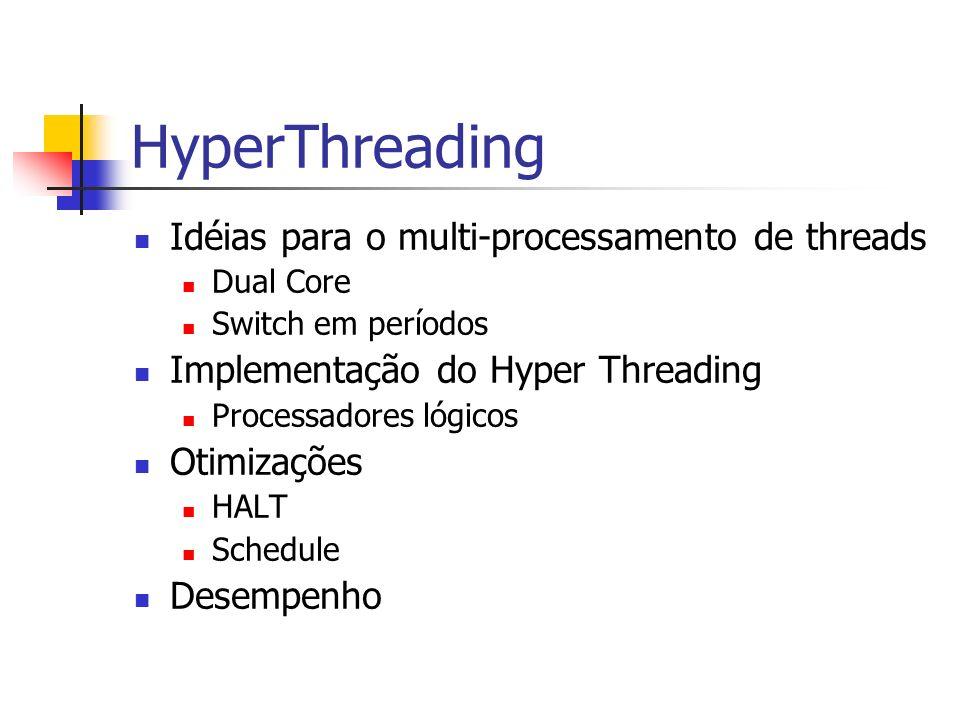 HyperThreading Idéias para o multi-processamento de threads Dual Core Switch em períodos Implementação do Hyper Threading Processadores lógicos Otimiz