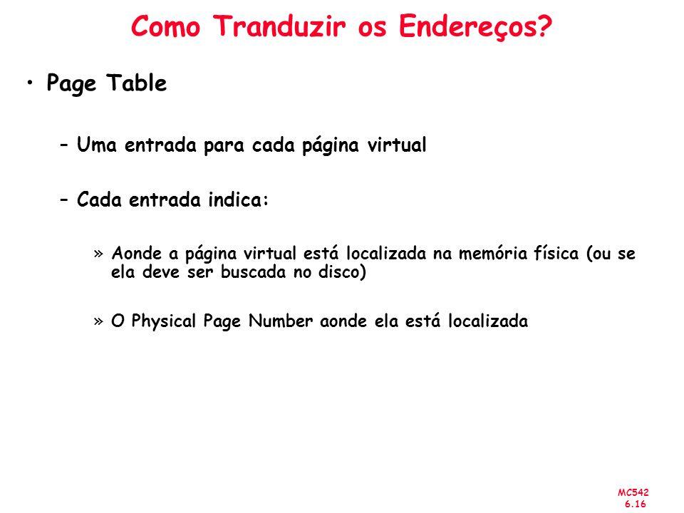 MC542 6.16 Como Tranduzir os Endereços? Page Table –Uma entrada para cada página virtual –Cada entrada indica: »Aonde a página virtual está localizada