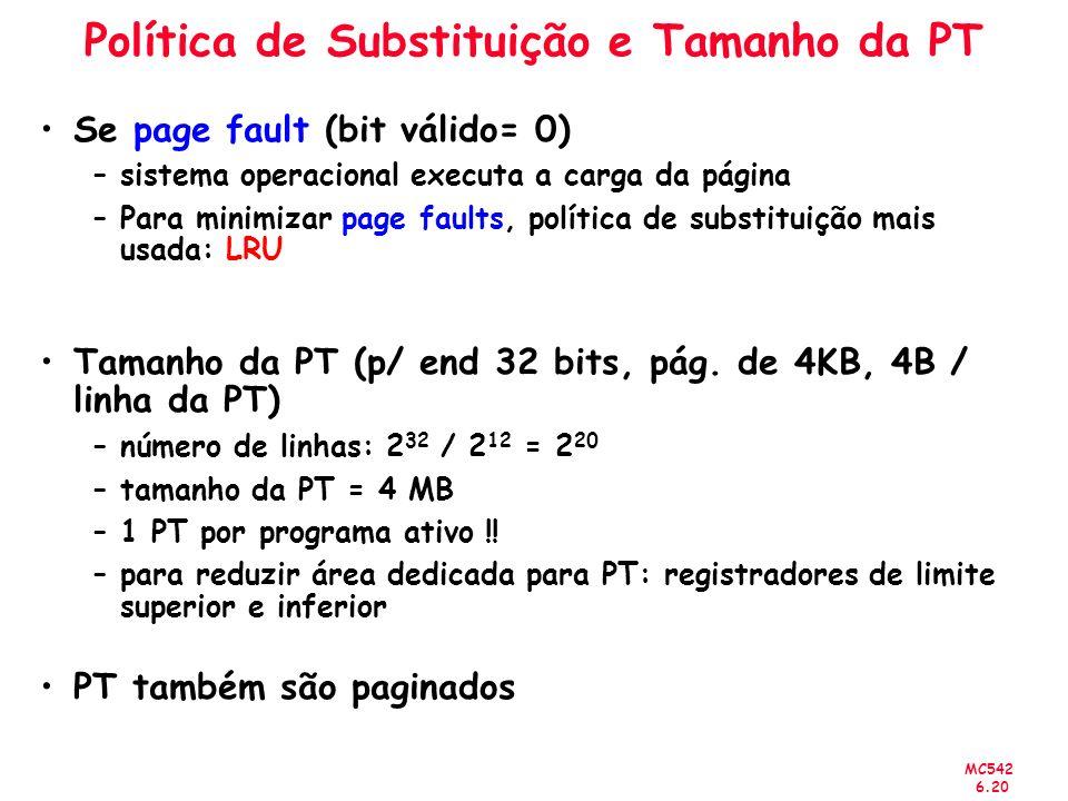 MC542 6.20 Política de Substituição e Tamanho da PT Se page fault (bit válido= 0) –sistema operacional executa a carga da página –Para minimizar page