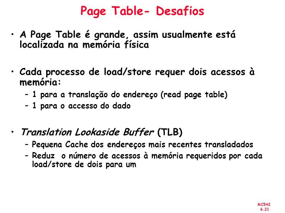 MC542 6.21 Page Table- Desafios A Page Table é grande, assim usualmente está localizada na memória física Cada processo de load/store requer dois aces