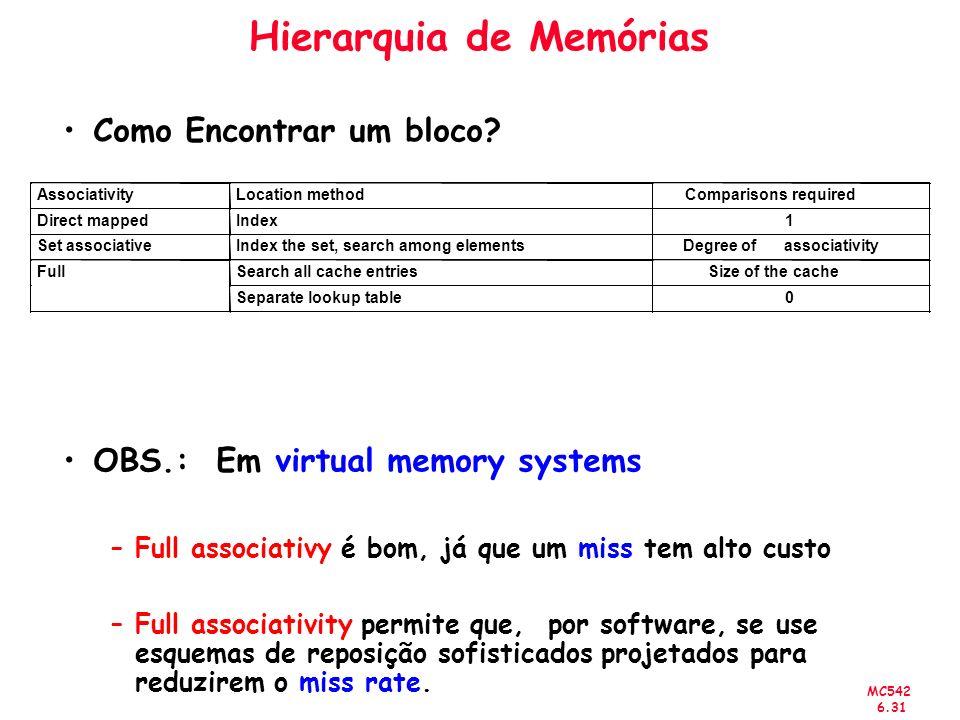 MC542 6.31 Hierarquia de Memórias Como Encontrar um bloco? OBS.: Em virtual memory systems –Full associativy é bom, já que um miss tem alto custo –Ful