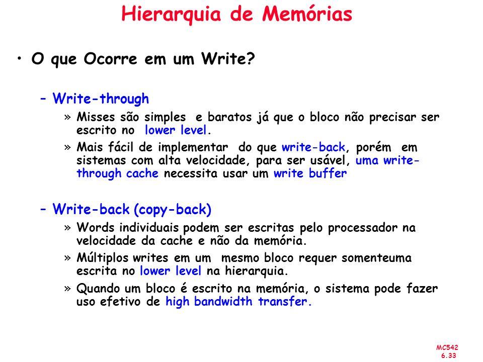 MC542 6.33 Hierarquia de Memórias O que Ocorre em um Write? –Write-through »Misses são simples e baratos já que o bloco não precisar ser escrito no lo