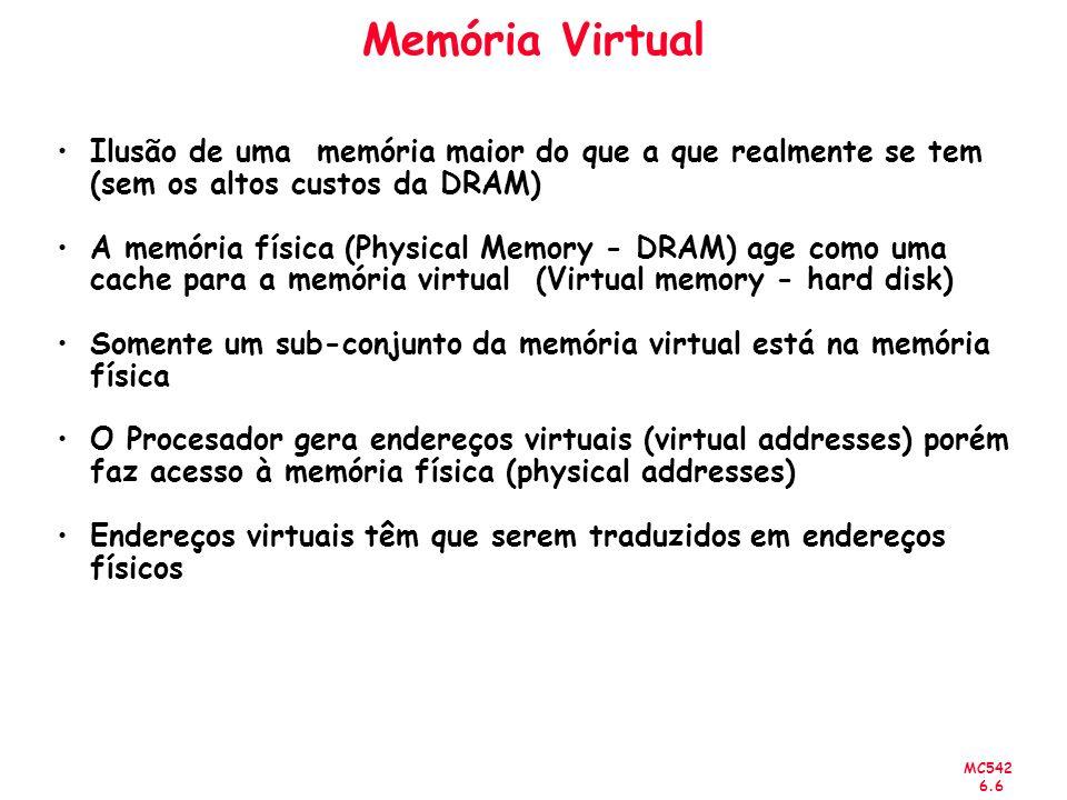 MC542 6.6 Memória Virtual Ilusão de uma memória maior do que a que realmente se tem (sem os altos custos da DRAM) A memória física (Physical Memory -