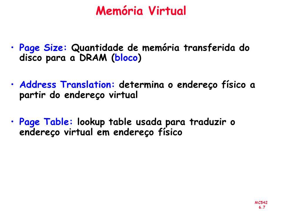 MC542 6.7 Memória Virtual Page Size: Quantidade de memória transferida do disco para a DRAM (bloco) Address Translation: determina o endereço físico a