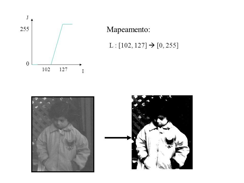 0 255 I J 102127 L : [102, 127] [0, 255] Mapeamento: