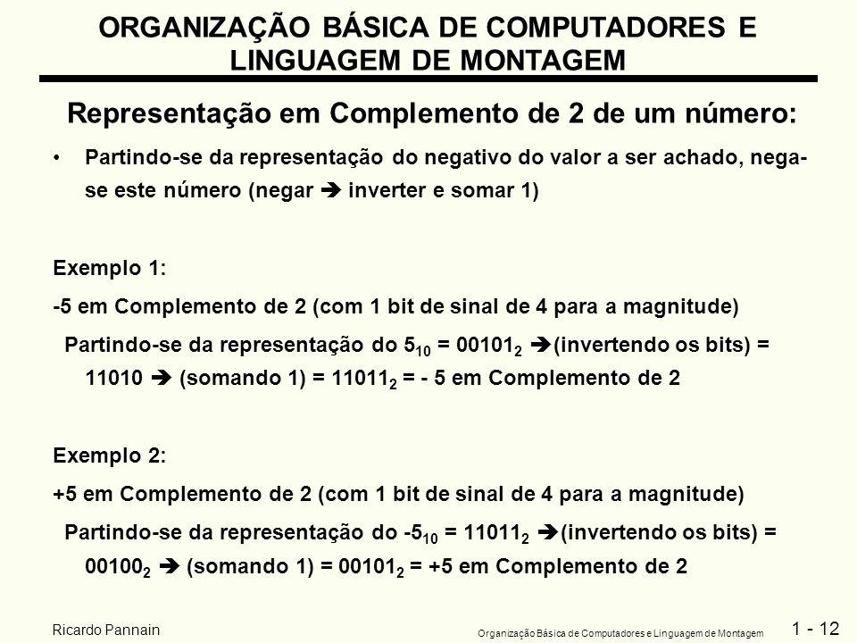 1 - 12 Organização Básica de Computadores e Linguagem de Montagem Ricardo Pannain Representação em Complemento de 2 de um número: Partindo-se da repre