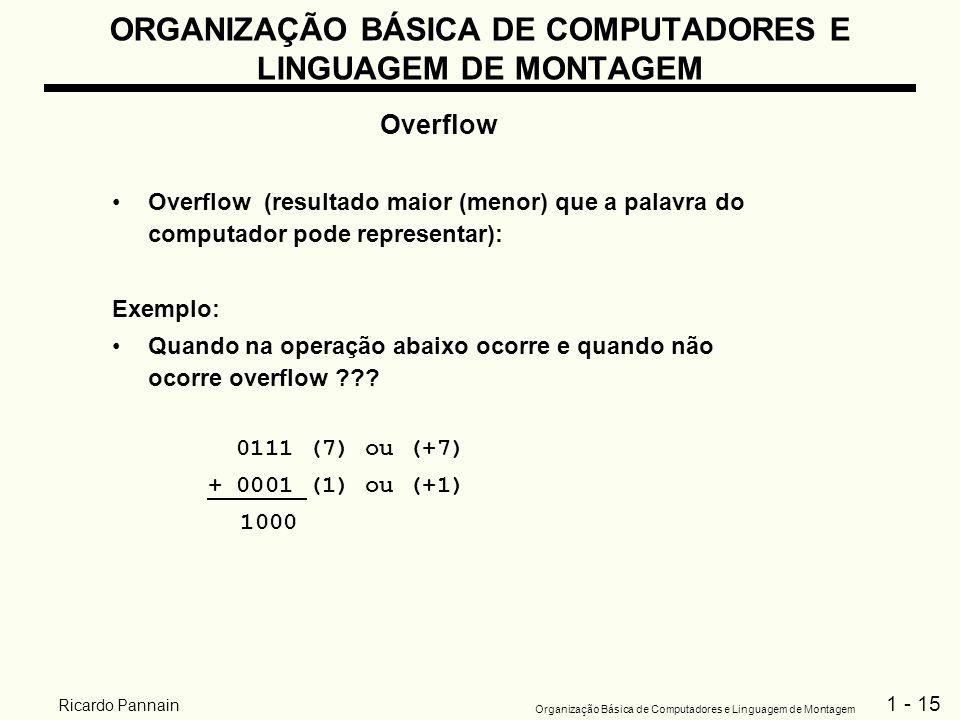 1 - 15 Organização Básica de Computadores e Linguagem de Montagem Ricardo Pannain ORGANIZAÇÃO BÁSICA DE COMPUTADORES E LINGUAGEM DE MONTAGEM Overflow