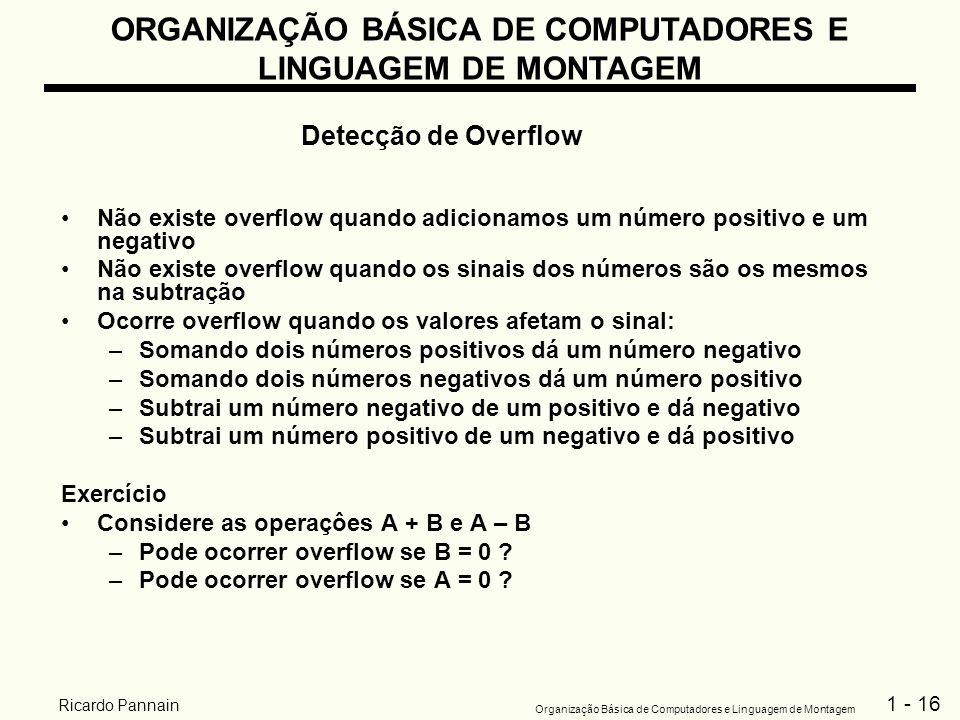 1 - 16 Organização Básica de Computadores e Linguagem de Montagem Ricardo Pannain Não existe overflow quando adicionamos um número positivo e um negat