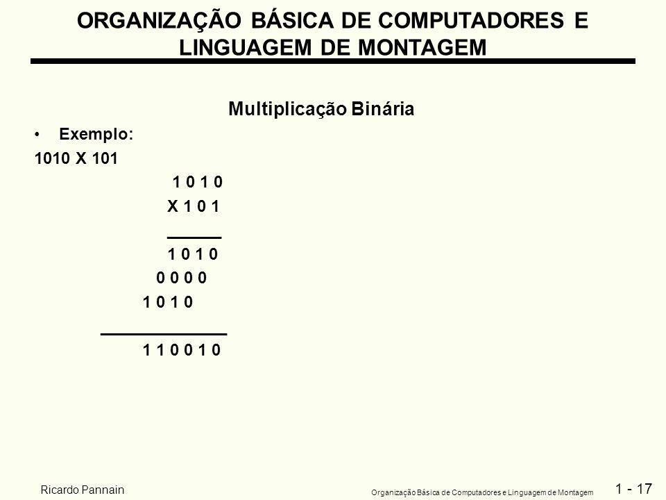 1 - 17 Organização Básica de Computadores e Linguagem de Montagem Ricardo Pannain ORGANIZAÇÃO BÁSICA DE COMPUTADORES E LINGUAGEM DE MONTAGEM Multiplic