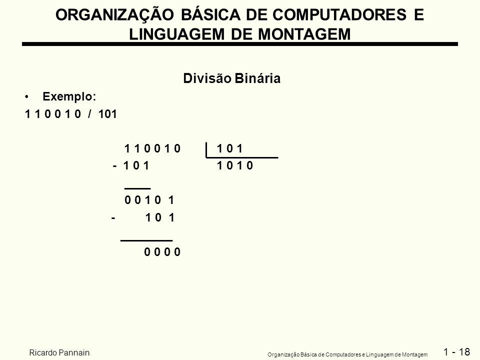 1 - 18 Organização Básica de Computadores e Linguagem de Montagem Ricardo Pannain ORGANIZAÇÃO BÁSICA DE COMPUTADORES E LINGUAGEM DE MONTAGEM Divisão B
