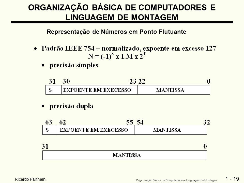 1 - 19 Organização Básica de Computadores e Linguagem de Montagem Ricardo Pannain ORGANIZAÇÃO BÁSICA DE COMPUTADORES E LINGUAGEM DE MONTAGEM Represent
