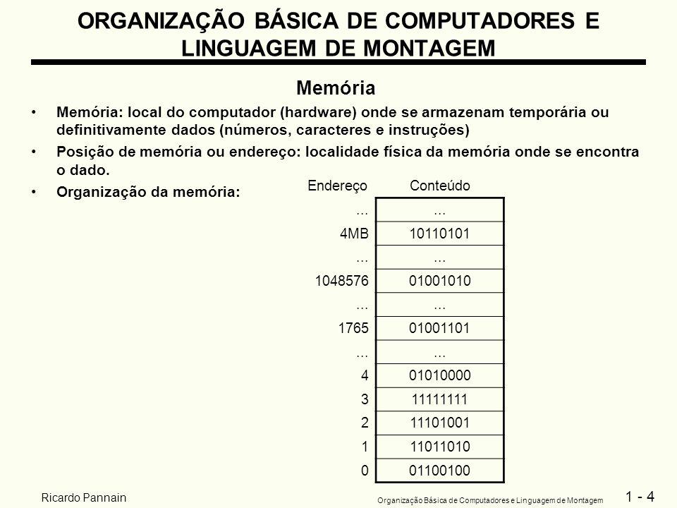 1 - 4 Organização Básica de Computadores e Linguagem de Montagem Ricardo Pannain ORGANIZAÇÃO BÁSICA DE COMPUTADORES E LINGUAGEM DE MONTAGEM Memória Me
