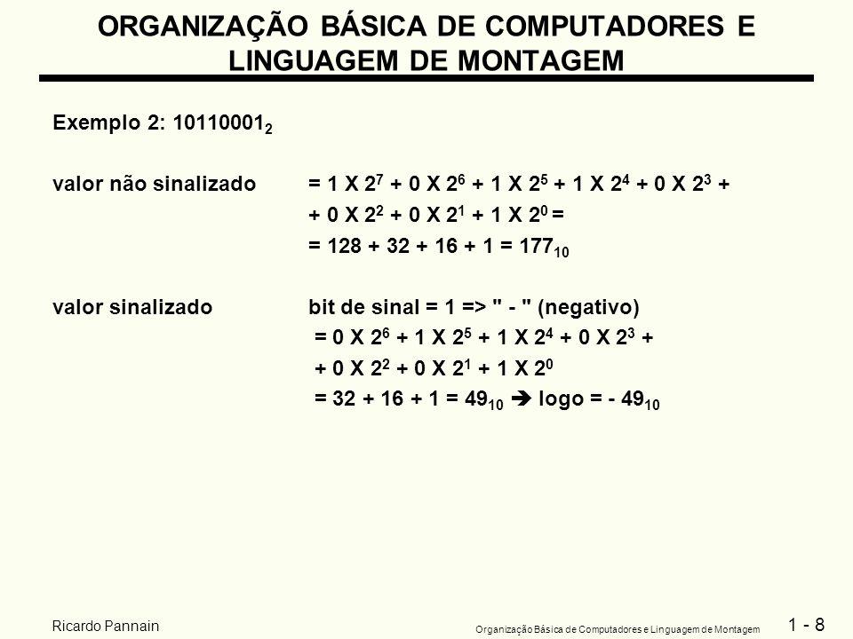 1 - 8 Organização Básica de Computadores e Linguagem de Montagem Ricardo Pannain ORGANIZAÇÃO BÁSICA DE COMPUTADORES E LINGUAGEM DE MONTAGEM Exemplo 2: