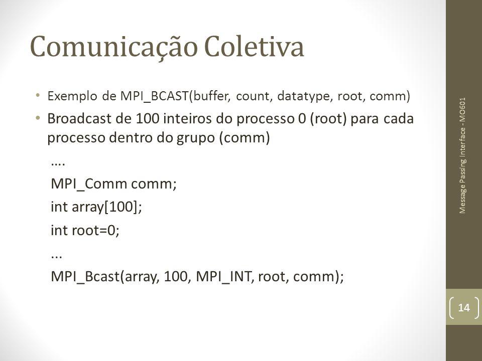 Comunicação Coletiva Exemplo de MPI_BCAST(buffer, count, datatype, root, comm) Broadcast de 100 inteiros do processo 0 (root) para cada processo dentr