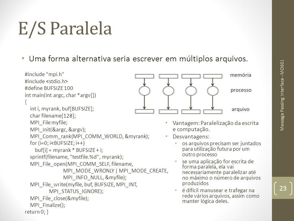E/S Paralela Uma forma alternativa seria escrever em múltiplos arquivos. #include