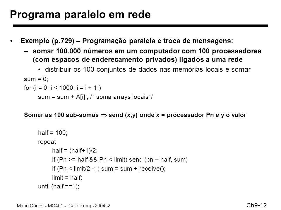 Mario Côrtes - MO401 - IC/Unicamp- 2004s2 Ch9-12 Programa paralelo em rede Exemplo (p.729) – Programação paralela e troca de mensagens: –somar 100.000