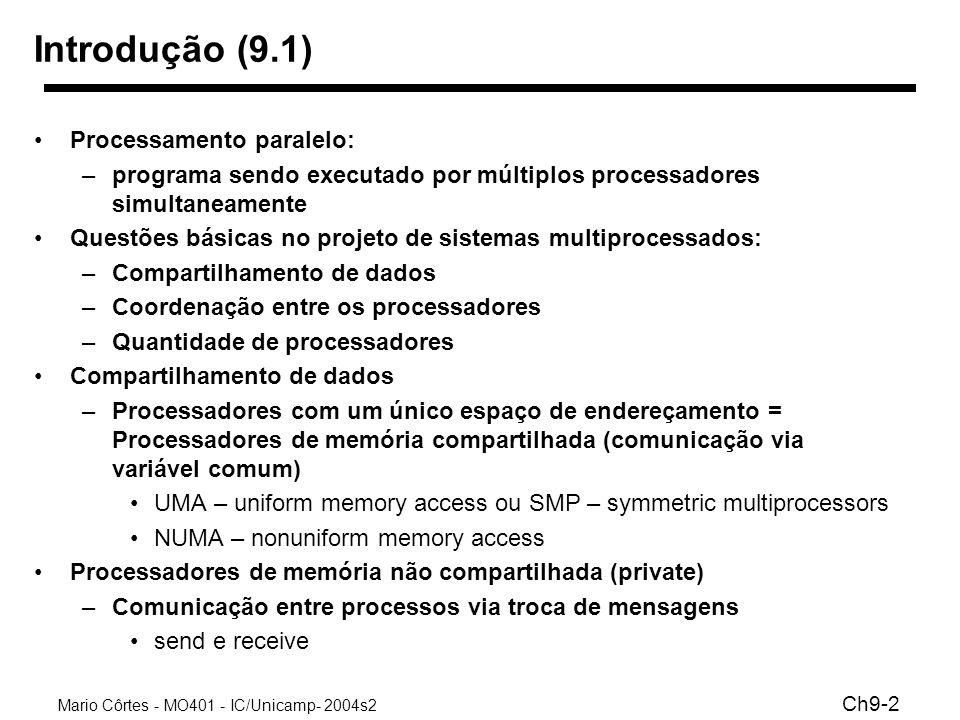 Mario Côrtes - MO401 - IC/Unicamp- 2004s2 Ch9-3 Processadores em rede Modelo de paralelismo mais recente –clusters –computadores ligados por uma rede CategoriaTipo Número de processadores Modelo de Comunicação Troca de Mensagens8-256 Endereçamento compartilhado NUMA8-256 UMA2-64 Conexão Física Rede8-256 Bus2-32