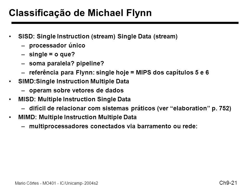 Mario Côrtes - MO401 - IC/Unicamp- 2004s2 Ch9-21 Classificação de Michael Flynn SISD: Single Instruction (stream) Single Data (stream) –processador ún