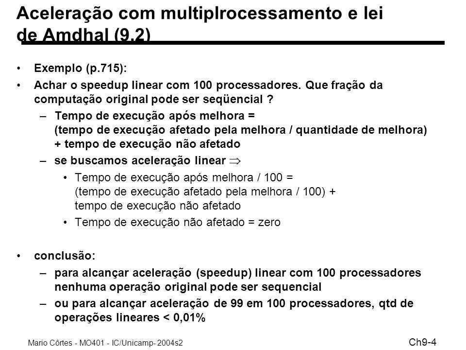 Mario Côrtes - MO401 - IC/Unicamp- 2004s2 Ch9-4 Aceleração com multiplrocessamento e lei de Amdhal (9.2) Exemplo (p.715): Achar o speedup linear com 1