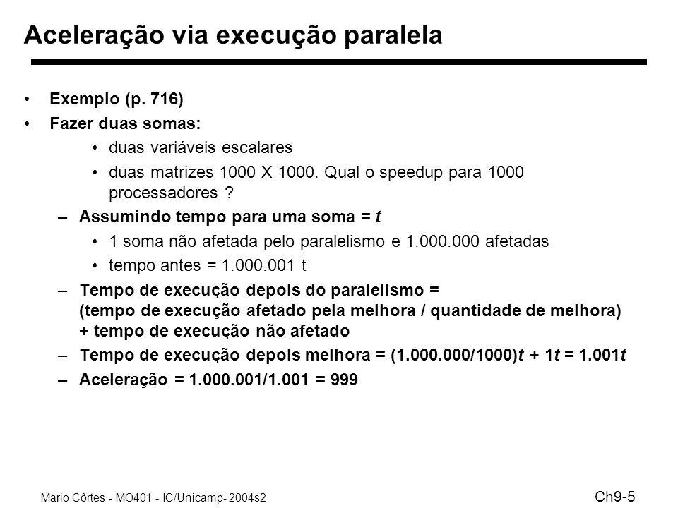 Mario Côrtes - MO401 - IC/Unicamp- 2004s2 Ch9-5 Aceleração via execução paralela Exemplo (p. 716) Fazer duas somas: duas variáveis escalares duas matr