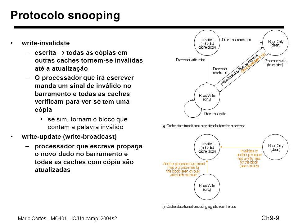 Mario Côrtes - MO401 - IC/Unicamp- 2004s2 Ch9-9 Protocolo snooping write-invalidate –escrita todas as cópias em outras caches tornem-se inválidas até