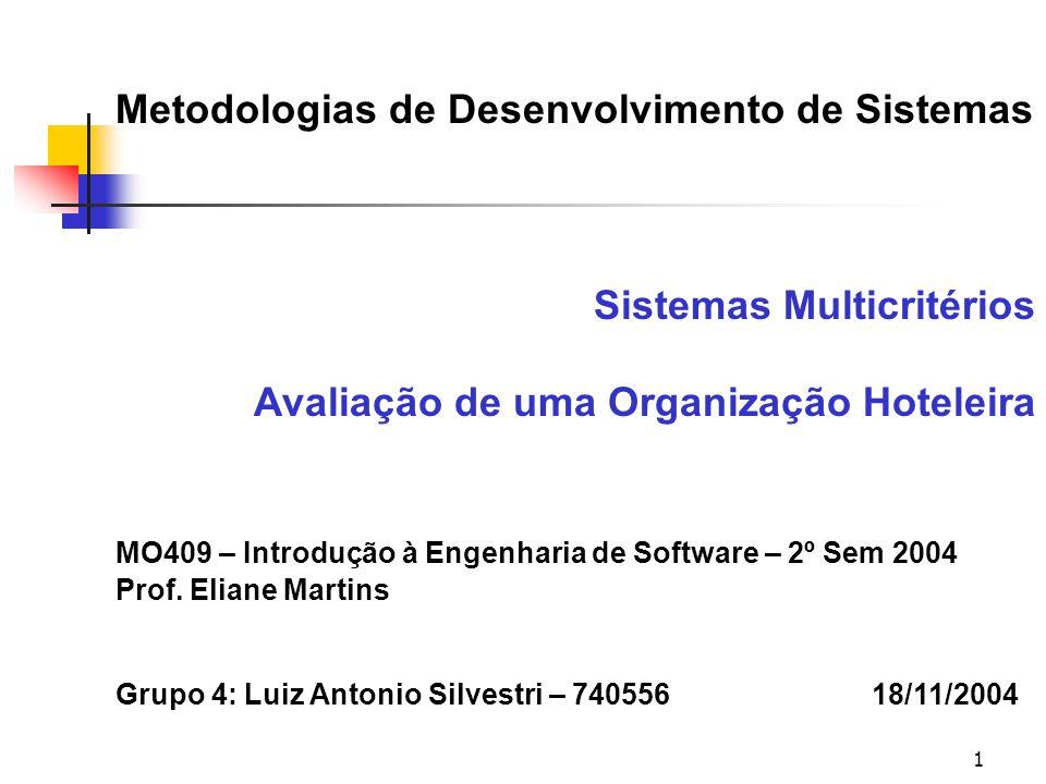 1 Metodologias de Desenvolvimento de Sistemas Sistemas Multicritérios Avaliação de uma Organização Hoteleira MO409 – Introdução à Engenharia de Softwa