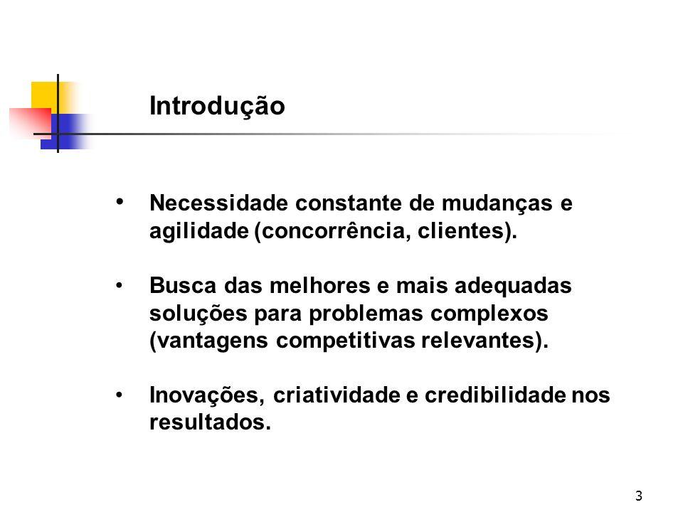3 Introdução Necessidade constante de mudanças e agilidade (concorrência, clientes). Busca das melhores e mais adequadas soluções para problemas compl