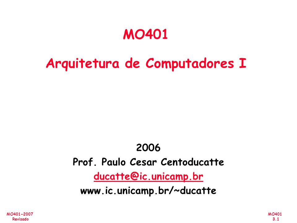 MO401 3.1 MO401-2007 Revisado 2006 Prof. Paulo Cesar Centoducatte ducatte@ic.unicamp.br www.ic.unicamp.br/~ducatte MO401 Arquitetura de Computadores I