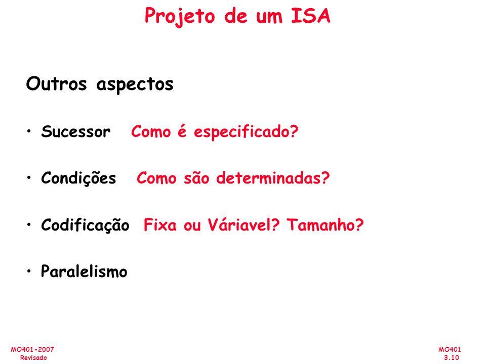 MO401 3.10 MO401-2007 Revisado Projeto de um ISA Outros aspectos Sucessor Como é especificado? Condições Como são determinadas? Codificação Fixa ou Vá