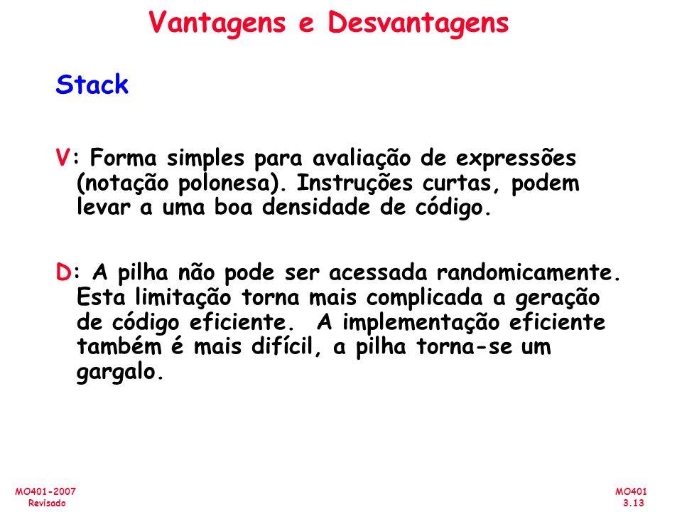 MO401 3.13 MO401-2007 Revisado Vantagens e Desvantagens Stack V: Forma simples para avaliação de expressões (notação polonesa). Instruções curtas, pod