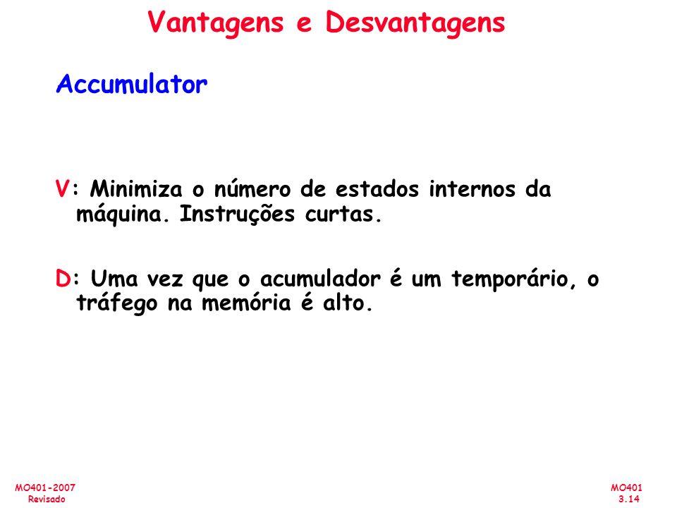 MO401 3.14 MO401-2007 Revisado Vantagens e Desvantagens Accumulator V: Minimiza o número de estados internos da máquina. Instruções curtas. D: Uma vez