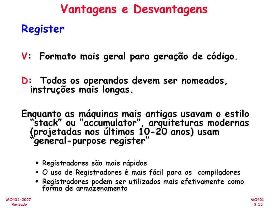 MO401 3.15 MO401-2007 Revisado Vantagens e Desvantagens Register V: Formato mais geral para geração de código. D: Todos os operandos devem ser nomeado