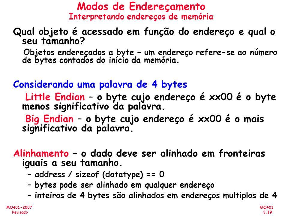 MO401 3.19 MO401-2007 Revisado Modos de Endereçamento Interpretando endereços de memória Qual objeto é acessado em função do endereço e qual o seu tam