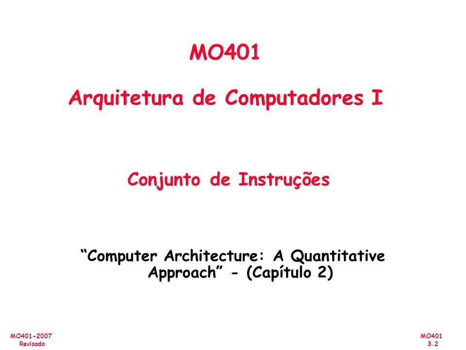 MO401 3.2 MO401-2007 Revisado MO401 Arquitetura de Computadores I Conjunto de Instruções Computer Architecture: A Quantitative Approach - (Capítulo 2)