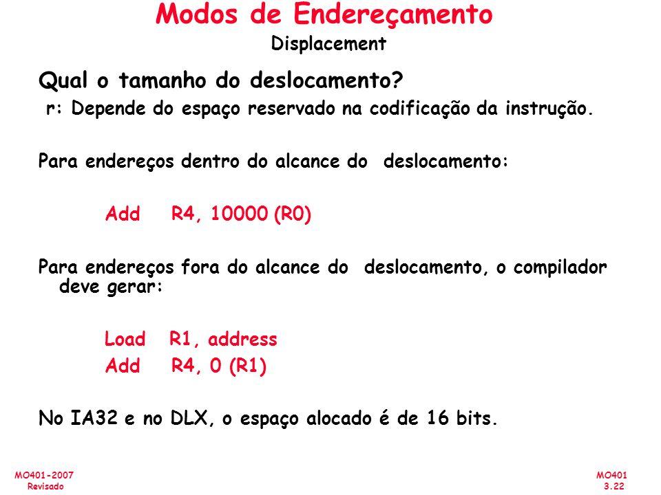 MO401 3.22 MO401-2007 Revisado Qual o tamanho do deslocamento? r: Depende do espaço reservado na codificação da instrução. Para endereços dentro do al