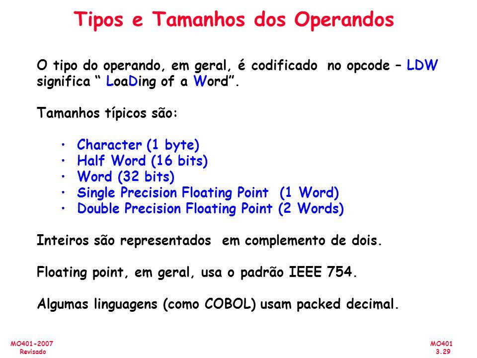 MO401 3.29 MO401-2007 Revisado Tipos e Tamanhos dos Operandos O tipo do operando, em geral, é codificado no opcode – LDW significa LoaDing of a Word.
