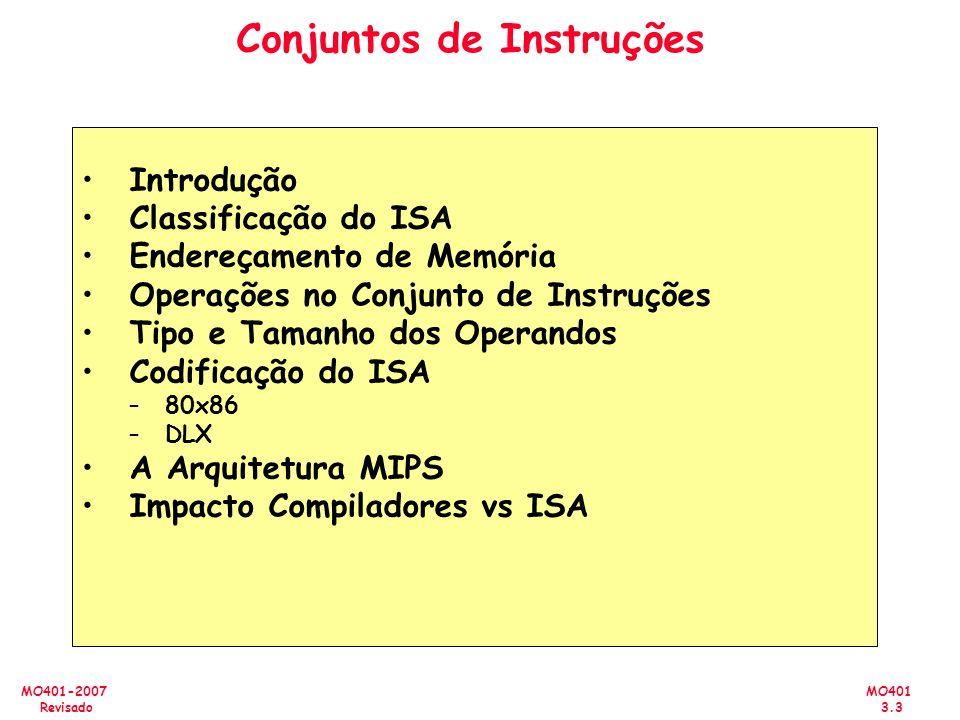 MO401 3.3 MO401-2007 Revisado Conjuntos de Instruções Introdução Classificação do ISA Endereçamento de Memória Operações no Conjunto de Instruções Tip