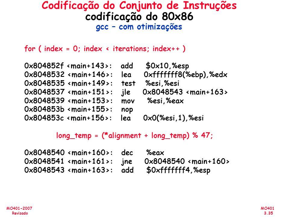 MO401 3.35 MO401-2007 Revisado Codificação do Conjunto de Instruções codificação do 80x86 gcc – com otimizações for ( index = 0; index < iterations; i