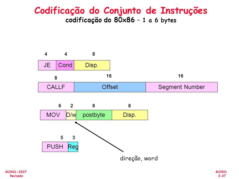 MO401 3.37 MO401-2007 Revisado CALLFOffsetSegment Number CondJEDisp. 44 8 16 8 postbyteMOV 68 D/w 2 Disp. 8 PUSH 5 Reg 3 Codificação do Conjunto de In