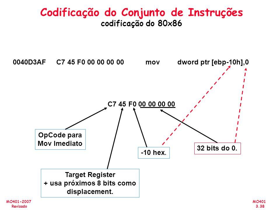 MO401 3.38 MO401-2007 Revisado Codificação do Conjunto de Instruções codificação do 80x86 0040D3AF C7 45 F0 00 00 00 00 mov dword ptr [ebp-10h],0 C7 4