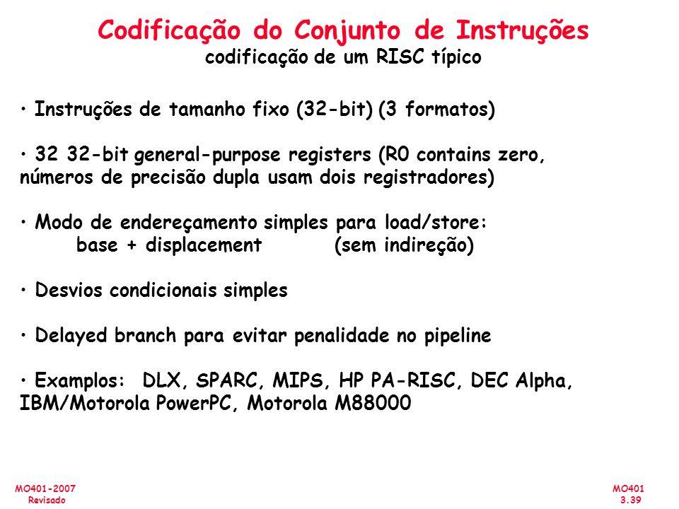 MO401 3.39 MO401-2007 Revisado Codificação do Conjunto de Instruções codificação de um RISC típico Instruções de tamanho fixo (32-bit) (3 formatos) 32